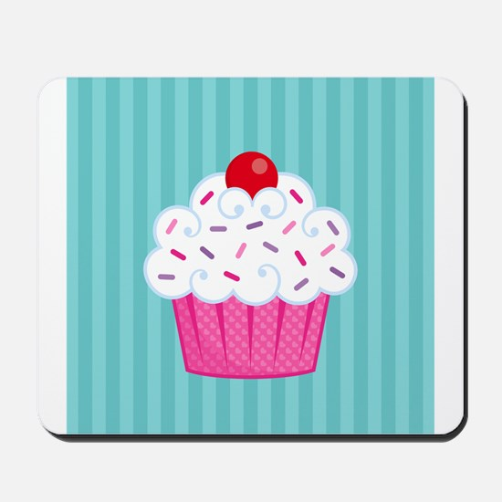 Pink Cupcake on Blue Mousepad