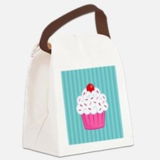 Pink Cupcake on Blue Canvas Lunch Bag