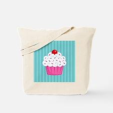 Pink Cupcake on Blue Tote Bag