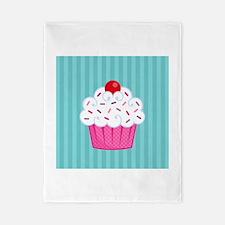 Pink Cupcake on Blue Twin Duvet