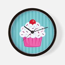 Pink Cupcake on Blue Wall Clock