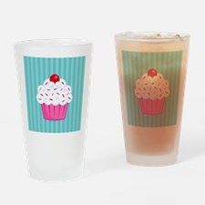 Pink Cupcake on Blue Drinking Glass