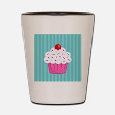 Pink Cupcake on Blue Shot Glass