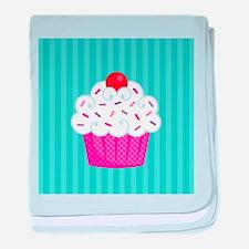 Pink Cupcake on Blue baby blanket