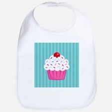 Pink Cupcake on Blue Bib