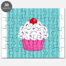 Pink Cupcake on Blue Puzzle