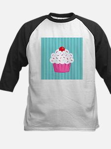 Pink Cupcake on Blue Baseball Jersey