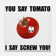Say Tomato Tile Coaster