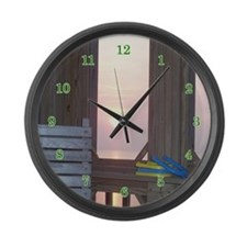 Sunset and Horseshoes Large Wall Clock