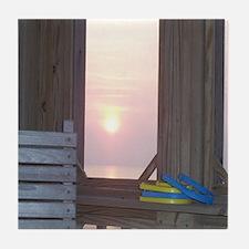 Sunset and Horseshoes Tile Coaster