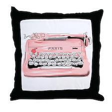 Paris Typewriter Throw Pillow