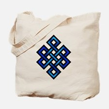 Endless Knot - Blue in Black Tote Bag