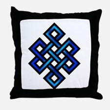 Endless Knot - Blue in Black Throw Pillow