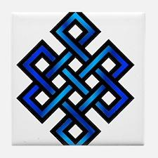 Endless Knot - Blue in Black Tile Coaster