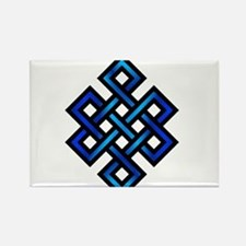 Endless Knot - Blue in Black Rectangle Magnet