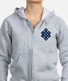 Endless Knot - Blue in Black Zip Hoodie