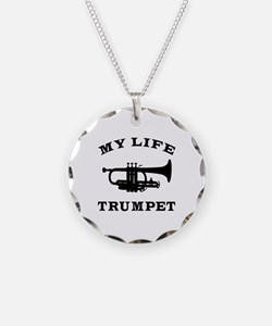 My Life Trumpet Necklace Circle Charm