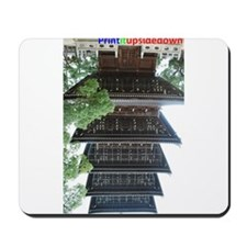 Wooden buddhist tower (stupa) upside-down Mousepad