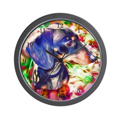 Weenie Dog Watercolor Wall Clock