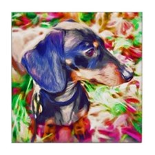 Weenie Dog Watercolor Tile Coaster