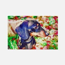 Weenie Dog Watercolor Rectangle Magnet