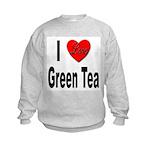 I Love Green Tea (Front) Kids Sweatshirt