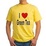 I Love Green Tea (Front) Yellow T-Shirt