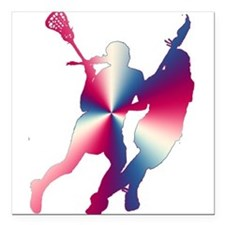 """Lacrosse Red White and Blue Square Car Magnet 3"""" x"""