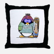 SnowBoard Penguin Throw Pillow
