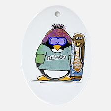 SnowBoard Penguin Oval Ornament