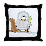 Eskimo Penguin Throw Pillow