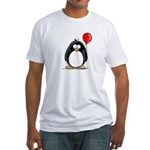 Red Balloon Penguin Fitted T-Shirt