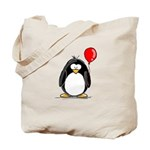 Red Balloon Penguin Tote Bag