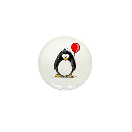 Red Balloon Penguin Mini Button