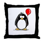 Red Balloon Penguin Throw Pillow