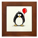 Red Balloon Penguin Framed Tile