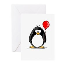 Red Balloon Penguin Greeting Cards (Pk of 10)