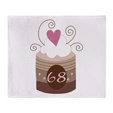 68th Birthday Cupcake Throw Blanket