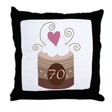 70th Birthday Cupcake Throw Pillow