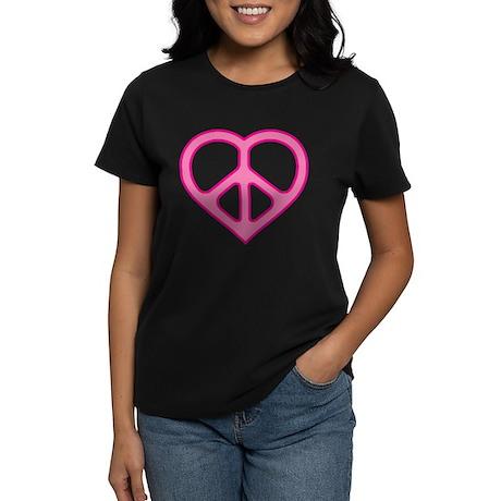 Pink Peace Heart Women's Tee Shirt