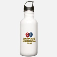 21 year old birthday designs Water Bottle