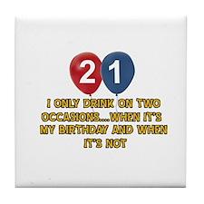 21 year old birthday designs Tile Coaster