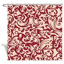 Chili Pepper & Linen Swirls Shower Curtain