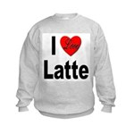 I Love Latte (Front) Kids Sweatshirt