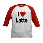 I Love Latte (Front) Kids Baseball Jersey