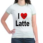I Love Latte (Front) Jr. Ringer T-Shirt