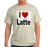 I Love Latte (Front) Ash Grey T-Shirt