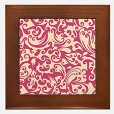 Fuschia Rose & Linen Swirls Framed Tile