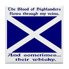 Scottish Blood Whisky St Andrew Tile Coaster