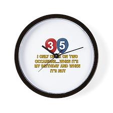 35 year old birthday designs Wall Clock